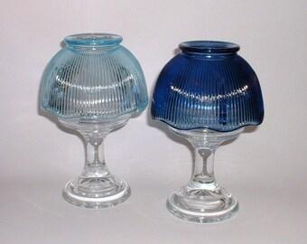 Superior Vintage Fairy Lamp// L.E. Smith Crystal Fairy Lamp//Blue Crystal Glass Fairy