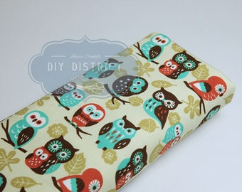 Owls cotton ivory Oxford fabric