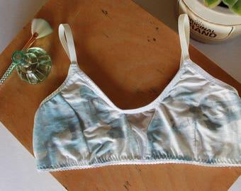 Watercolor clouds bralette, something blue wedding lingerie, modern minimalist bralette