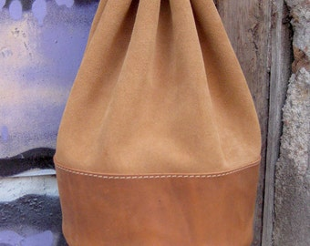 Leather pouch Coins pouch Tobacco pouch Leather purse in tan Leather and suede leather pouch