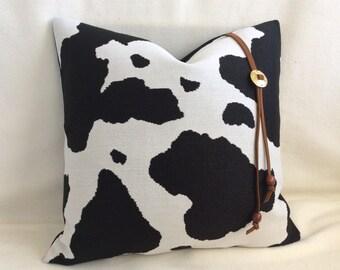 Faux Cowhide Designer Pillow Cover - Black/White
