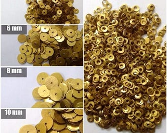 10000 GOLDEN Sequins Paillette Spangles - 2mm 4mm 6mm 8mm 10mm - Flat Round Sewing Craft DIY Embroidery