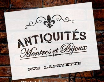 French Antique Word Stencil - For Painting Wood Signs or Furniture Rustic Farmhouse Country Home Decor-Small to Extra Large - SELECT SIZE