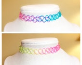 Rainbow Tattoo Choker, Be...