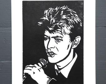 David Bowie Linocut