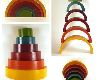 Rainbow stacker, Waldorf rainbow stacker, wooden rainbow toy, building toy, balance toy, balance game, primitive toys, unique baby gift,