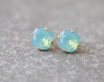Pacific Blue Green Opal Earrings Swarovski Crystal Studs Swarovski Crystal Pacific Blue Green Opal Stud Earrings Mashugana