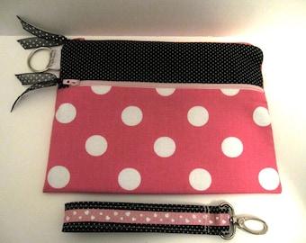 Handmade wristlet  pouch purse bag polka dots pink key fob