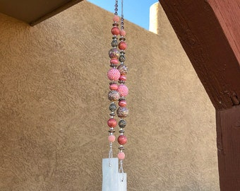 Pretty in Pink Stained Glass Beaded Wind Chimes, Patio Garden Decor