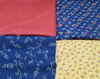 Quilt Fabric 5 yd Vintage Small Print Cotton Yardage Lot Polka Dot Blue Red Orange Gold Coordinated Quilting Kit Destash Cranston Remnants