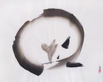 ORIGINAL Enso Fox //Sumi-e / Japanese INK Painting