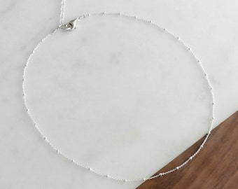 Silver Satellite Chain Choker Necklace - Delicate Silver Necklace, Layering Necklace, Simple Chain Necklace, Short Necklace, Gifts for Her