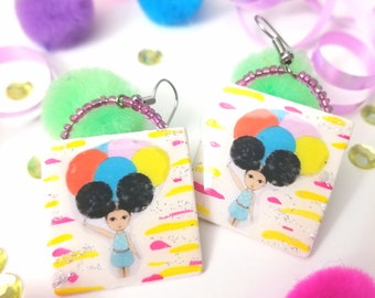 Little Girl with Balloons Dangle Earrings