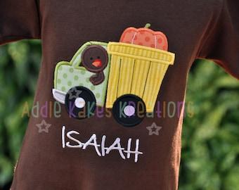 Turkey Truck Shirt - Boys Thanksgiving Shirt - Personalized Turkey Truck Shirt - Boys Truck Shirt - Boys Turkey Shirt - Turkey Shirt for Boy