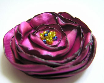 Fabric Flower. Set of 3 pieces Purple Rolled Fabric Flower. Make Brooch or Hairpin