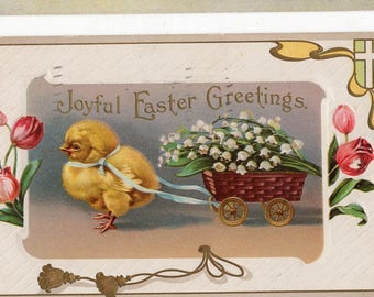 Joyful Easter Greetings Vintage Easter Postcard , Delightful Chick, Cart filled with flowers
