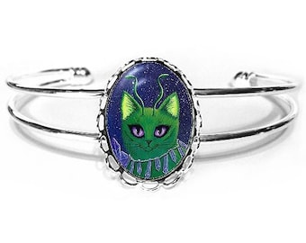 Green Alien Cat Bracelet Space Cat Painting Purple Crystals Silver Fantasy Cat Art Cameo Bracelet 25x18mm Gift for Cat Lovers Jewelry