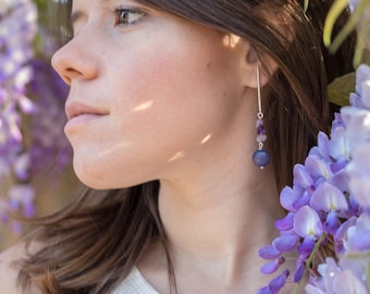 Amethyst Long earrings and natural jade