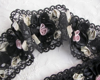 1 YD 16 Inches Black Lace Ribbon Flower Trim Vintage Like with Satin Rose Quilt