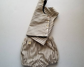 Stripe Cotton Tunic Infant and Toddler Shirt Handmade by Papoose Clothing