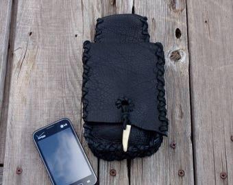 Black leather belt bag for your phone , Black leather phone case , Black leather hip bag