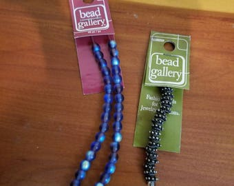 Blue Glass Beads and Silver Spacers