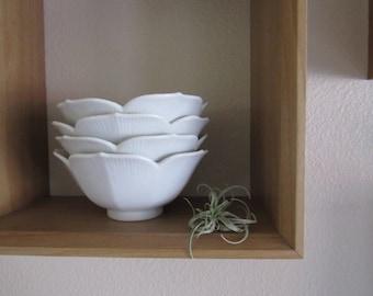 White Bowls/ Lotus Bowl Set/ White Lotus Bowls/ Vintage Ceramic Bowls