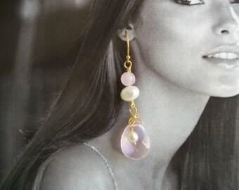 Quartz rose & boucles d'oreilles perles d'eau douce - boucles d'oreilles or Vermeil ~ rose à facettes larme ~ boîte-cadeau