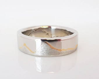 Gold Inlay Mountain Ring, 6mm band, Handcafted Platinum or Palladium with 22k Gold, Mountain Jewelry, Platinum Wedding Band