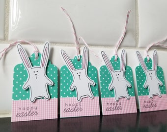 Easter Basket Gift Tags Set of 5, Easter Hang Tags, Easter Bunny Tags, Happy Easter Gift Inserts, Rabbit Tags