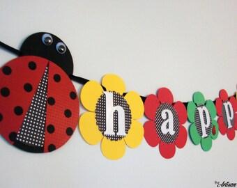 Ladybug Birthday Banner - Ladybug Banner - Birthday Banner -  Handmade Ladybug banner - Customizable