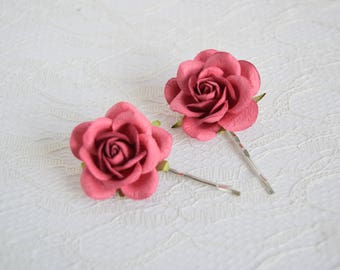 Dusky Red Rose Hair Clips, wedding hair accessories, bridal hair clips, red rose pins, flower hair clips, rose bobby pins, flowergirl