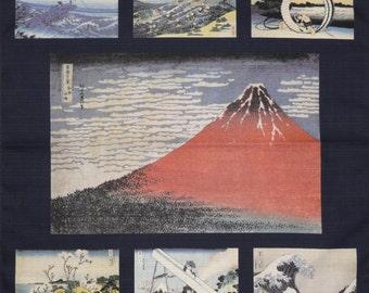 Furoshiki Navy 'Hokusai Aka Fuji Collection' Cotton Japanese Fabric w/Free Insured Shipping