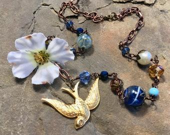 Gorgeous swallow brass pendant necklace, blue, botanical