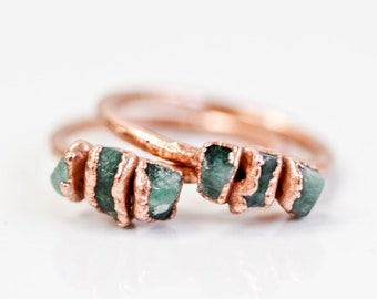 Raw Emerald Ring / May Birthstone / Emerald Ring / Graduation Ring / Raw Jewelry / Gift