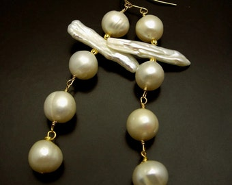 FAITH ~ White Freshwater, Biwa Pearl 14kt Gold Fill  Earrings
