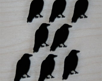 8x laser cut acrylic raven crow cabochons