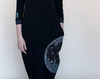Black Printed Honeymoon Dress / Organic Dress, Light Minimalist Gown, Womens Knee Apparel, Relax Clothes, SilkPrinted Clothing, Comfortable