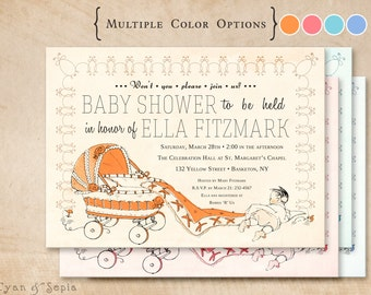 Printable Baby Shower Invitation - 5x7 - Vintage Carriage - Orange, Pink, Blue - Antique, Storybook, Retro, Kitsch, 1950s, 1960s