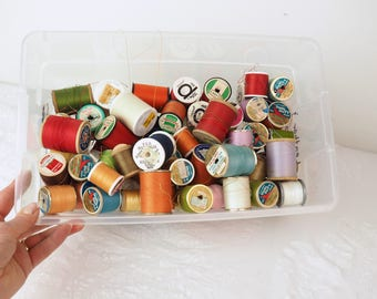 Large Lot Thread Spools- Vintage, Antique, New- 68 spools total!- Sewing, Quilting, Crafting- Every color-