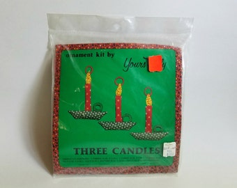 Vintage 1976 Yours Truly Unopened Three Candles Holiday Ornament Kit