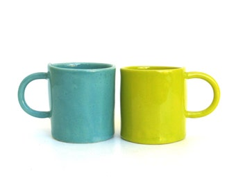 two hand built porcelain cups  ...   teal and chartreuse   ...  set of  espresso cups  ...   demitasse