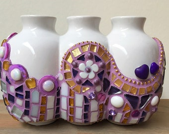 Purple gold and white glass mosaic flower vase