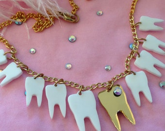 Sweet Tooth Necklace, Teeth, Gold tooth, Laser Cut Acrylic, Plastic Jewelry
