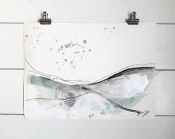 Minimal art, minimal landscape, Scandinavian decor, modern landscape, Scandinavian style, teal and grey, wabi sabi art, hygge art