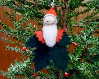 Holly Leaf Santa Ornament, Handmade Ornament, Handmade Santa, Vintage Package Tie On, Wool Felt Ornament, Vintage Inspired Christmas