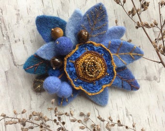 Handmade felted brooch -  Felted pin - Embroidered brooch - Flower brooch - Gift for her - Blue brooch - Blue flower - Tiger eye stone