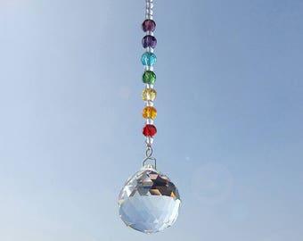 Hanging window chakra suncatcher glass crystal suncatchers pendant rainbow fengshui prism ball