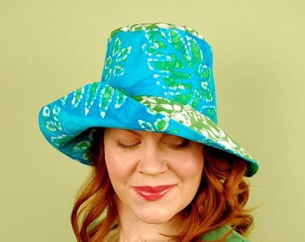 cotton sun hat- IDALIS- Turquoise Batik and Vines - size S/M