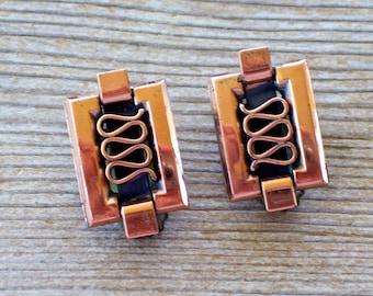 Renoir GRECIAN Earrings, Vintage RENOIR Copper Clip Earrings, Mid Century Copper Jewelry, Renoir Earrings, Copper Earrings, The Copper Cat